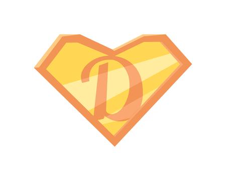 父亲的超级英雄的象征。超级爸爸图标。超级老爸盾平了。粉橘色元素。简单的画。孤立的矢量插图上的白色背景。插图