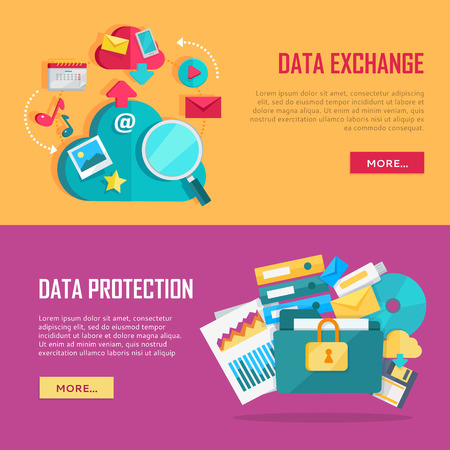 provision: Data exchange and data protection banners set. Data protection and exchange design flat concept. Technology web, internet information data integration and transforming. Data provision. Vector Illustration