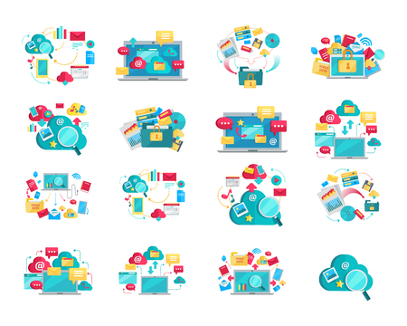 Set of concept flat design illustrations for data storage, cloud computing, provision, recovery, exchange, protection services. Colored web icons, business stuff, computer parts, infographic elements.