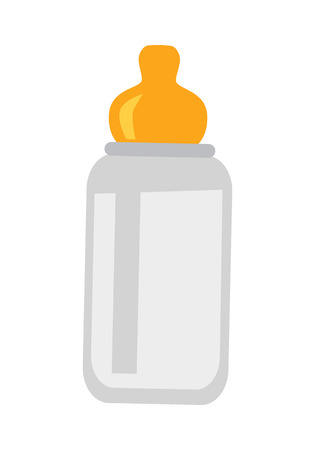 Child bottle with nipple isolated on white. Child drink device in flat design style. Favourite drinking bowl of the little toddler. Drinker of the kid. Trough bottle. Vector illustration.