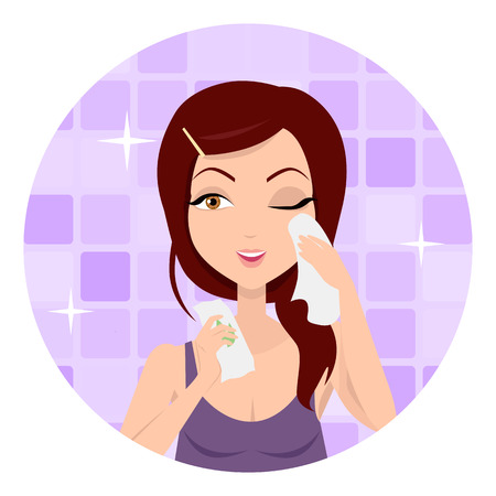 Moisturisation. Girl applying wet wipes which allows skin to breathe and gives fresh. Woman instruction how to make up correctly. Girl cares about her look. Part of series of ladies face care. Vector Ilustração