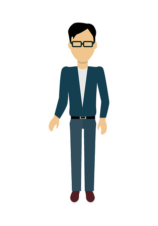 Male character without face in blue pullover vector. Flat design. Man template personage illustration for concepts with humans, mobile app pictogram, logos, infographic. Isolated on white background. Illustration