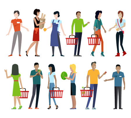 Set of customers and sellers characters vector templates. Flat style design. Man and woman making purchases and sell goods. Supermarket personnel, consumer choice and shopping in mall concept. Stock Illustratie