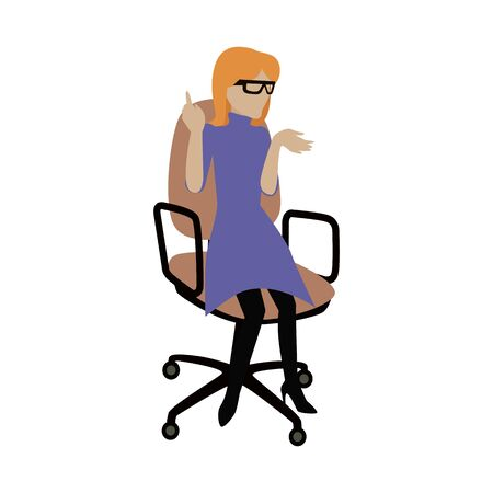 young businesswoman: Woman in purple dress and glasses sitting on office armchair. Young businesswoman sitting on chair. Isolated object in flat design on white background. Vector illustration. Illustration