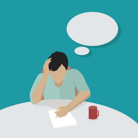 worried executive: Young businessman thinking and writing. Man in light blue shirt sitting at the table with empty dialog window. Man pensive and worried. Isolated object in flat design on white background.