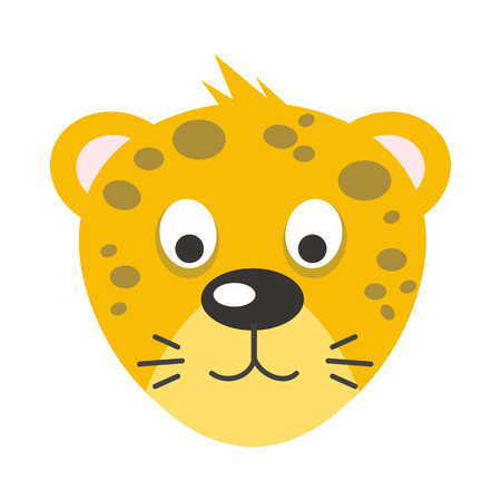 the children s: Leopard face vector. Flat design. Animal head cartoon icon. Illustration for nature concepts, children s books illustrating, printing materials, web. Funny mask or avatar. Isolated on white background Illustration
