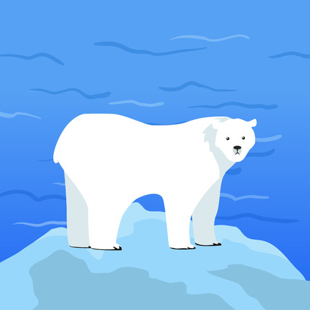 threatened: Polar bear Ursus maritimus on piece of ice with Arctic Ocean on background. Arctic wild animal. Carnivorous bear at Arctic Circle. Wildlife of North Pole. White bear. Vector illustration in flat style