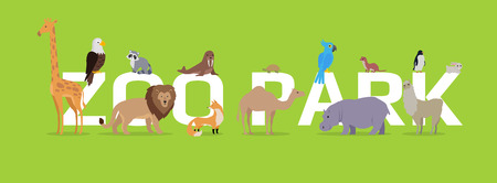 specie: Zoo park vector concept. Flat style. Horizontal banner with exotic wild animals illustrations. Birds and mammals standing, sitting, lying on green background and letters. For zoo ad, web design Illustration