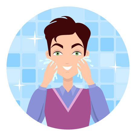 Stages of man face wash. Washing with cream cleanser or soap, shaving with razor, using moisturizer or lotion after shave. Boy cares about his look. Part of series of face care. Vector illustration