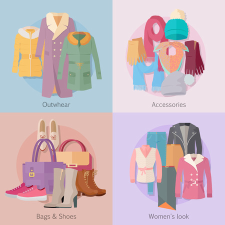 Outerwear accesoiries bags and shoes womens look banner set. Autumn winter collection. Stylish fashionable designers clothes. Best world brand trends. New collection of shoes and outwear models. Vector