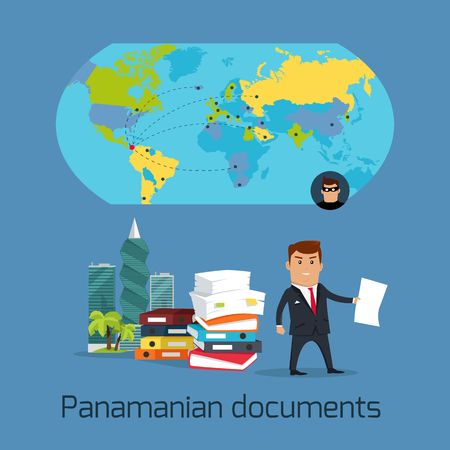 Panamanian documents concept vector. Flat design. Financial fraud, tax evasion, money laundering, corruption, investigation, crimes disclosure. international scandal illustration. World politics Illustration