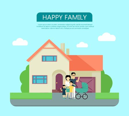 happy family at home: Happy family in the yard of their house. Home icon symbol sign. Colorful residential cottage in beige colors. Part of series of modern buildings in flat design style. Real estate concept. Vector