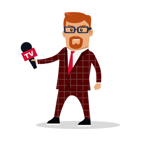 Media worker character vector. Flat design. TV journalist, reporter illustration. Live broadcast, breaking news concept. Man in brown checkered suite with microphone. Isolated on white background.
