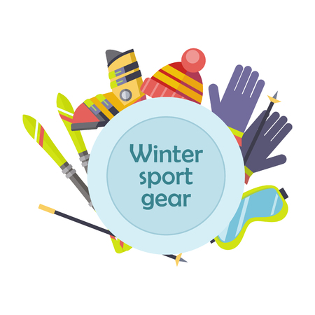 ski: Winter sport gear concept. Flat design. Illustration with ski, boots, gloves, goggles. Winter sportswear and equipment. Cold season entertainments and outdoor activity. For resort, shop ad