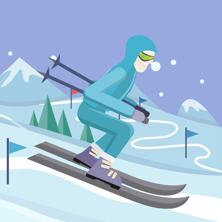 sliding: Skier on slope illustration. Flat design. Man in ski suit sliding from hill with slalom flags. Winter entertainments, outdoor activity and sport. Extreme slalom. For mountain resort ad