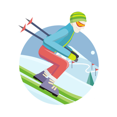 slalom: Skier on slope vector illustration. Flat design. Man in ski suit sliding from hill with slalom flags. Winter entertainments, outdoor activity and sport. Extreme slalom. For mountain resort ad