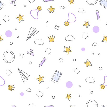 indispensable: Successful icons seamless pattern. Paper plane star medal clock crown cloud pen mobile phone. Things that bring good luck. Favourite items in the office work. Indispensable things. Vector illustration Illustration