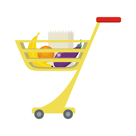 Shopping trolley with food products. Banana, orange, brinjal and paper bag. Shopping cart icon, supermarket and food, grocery. Part of series of shop equipment, fruits and vegetables. Vector