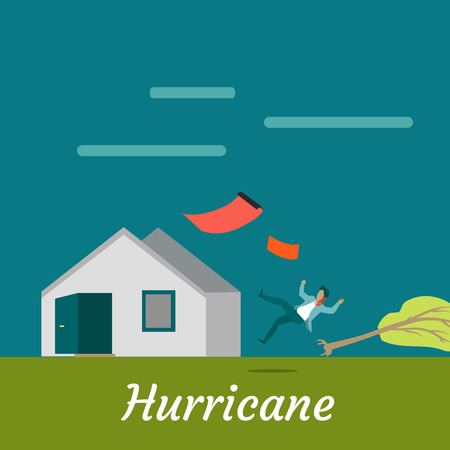 Hurricane destroying house and killing man. Natural disaster. Deadly strong wind near house ruins everything. Hurricane damages village cottage. Catastrophe caused by strong wind. Vector illustration
