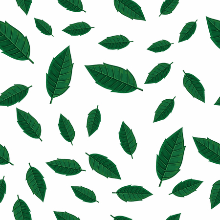defoliation: Leaves vector seamless pattern. Flat style illustration. Falling green tree leaves on white background. Autumn defoliation. For wrapping paper, greeting card, invitation, printing materials design Illustration