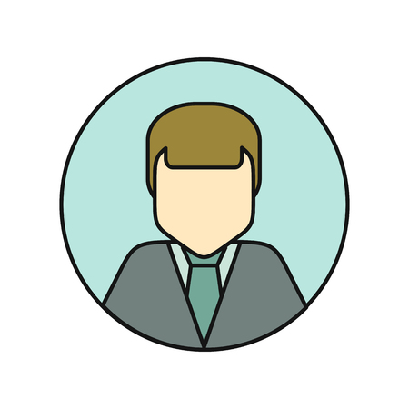 business shirts: Young man private avatar icon. Young man in gray shirt. Social networks business private users avatar pictogram. Round line icon. Isolated vector illustration on white background. Illustration