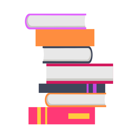 Stack of seven books in flat. Book pile icon. Book concept. Business education concept. Set of multicolored books. Isolated vector illustration on white background.