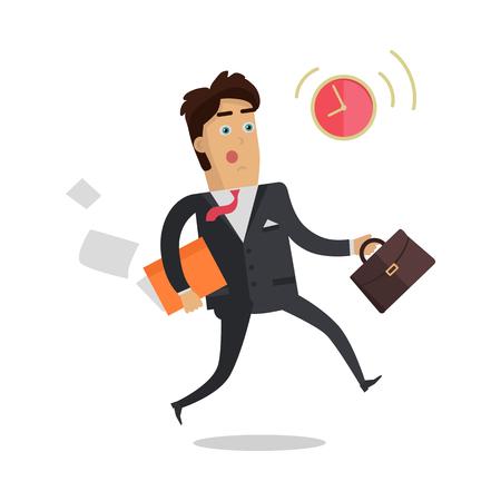 puntualidad: Llegar tarde a las reuniones del vector concepto. Diseño plano. hombre de negocios preocupado con la cartera y documentos se apresura a tiempo señalado. La puntualidad y el estrés en el trabajo. Por concepto de negocio. Aislado en blanco Vectores