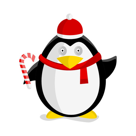 Christmas penguin vector illustration. Flat design. Funny penguin in Santa hat, scarf and with candy cartoon. Winter holidays celebrating. For children s books, greeting cards illustrating. On white