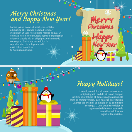 happy web: Set of happy holidays Merry Christmas and Happy New Year web banners. Poster with owl on garland, snowflakes, present gift boxes and xmas tree, penguin. Add congratulation text. Greeting card. Vector