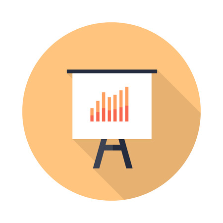 office presentation: Presentation screen with bar charts isolated. Flip Chart. Editable items in flat style for your web design. Part of series of accessories for work in office. Infographics. Vector illustration Illustration