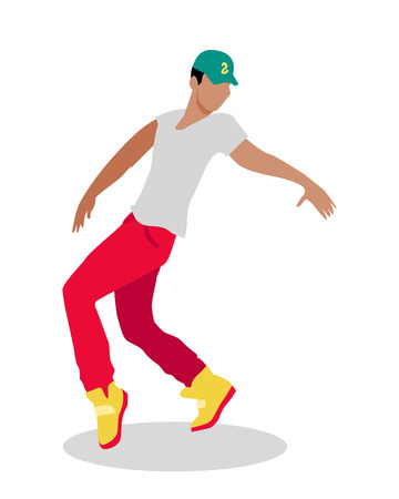 Hip hop and break street dancer. Street dance concept flat design. Vernacular dances in urban context. Culture and entertainment. Dance style evolved outside studios in available open space. Vector Illustration