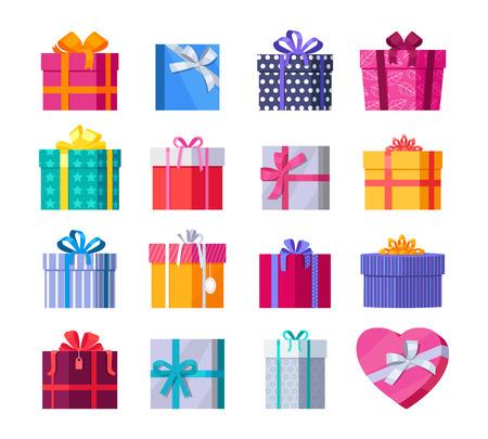 Set van kleurrijke geschenkdozen met modieuze linten en strikken geïsoleerd. Huidige doos. Decoratieve, stijlvolle verpakking voor cadeautjes. Modern verpakkingsproduct. Giften collectie web pictogram teken symbool. Vector