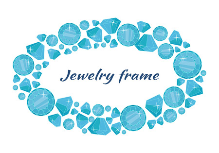 gemstone: Jewelry round frame with space for text. Round frame made of blue shiny diamonds. Blue shiny diamonds on on white background. Diamond decoration. Vector illustration in flat.