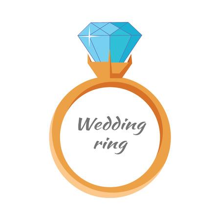 Icona di anello di nozze isolato su bianco. Anello gioielli con gemma blu. Migliore anello di matrimonio e fidanzamento modificabile per il tuo design. Anello di diamanti di lusso. Concetto di gioielli. Illustrazione vettoriale