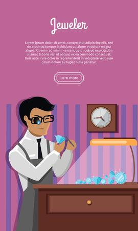 lamplight: Jeweler during the evaluation of jewels. Young jeweler glasses examines faceted diamond in workplace in the lamplight flat style. Occupation person to work with precious stones. Vector illustration