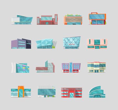 Conjunto de edificios comerciales, las variaciones en el diseño de la arquitectura plana. estructuras moderno del vector para el diseño web, iconos de aplicaciones, servicios de navegación. ilustraciones tienda, centro comercial, supermercado, centro de negocios.
