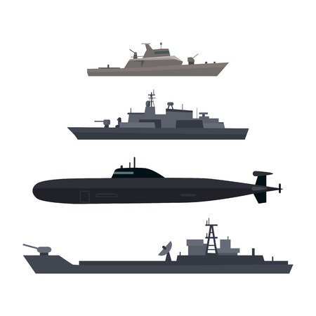 Naval ships set. Military ship or boat used by navy. Damage resilient and armed with weapon systems. Armament troop transport. Naval warfare. Termed warships to support shipyard operations. Vector