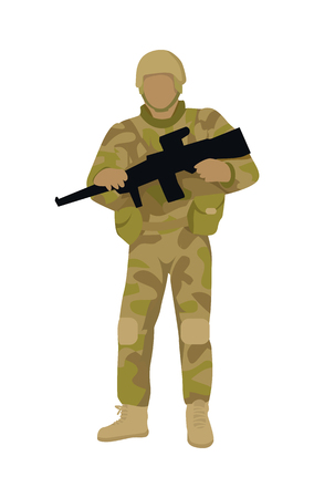 troop: Armed soldier with weapon isolated. Infantry troop soldiers with gun. Men in camouflage combat uniform. Combat on foot. War concept. Strong fighter troop. Commander. Vector illustration in flat style.
