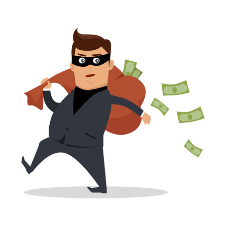 Money stealing concept vector. Flat design. Financial crime, tax evasion, money laundering, political corruption illustration. Robbery. Man in a business suit, in mask carrying a bag of money on back. Illustration