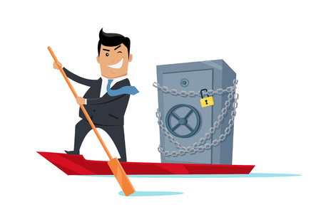 Escape with money concept vector. Flat design. Success. Financial crime, tax evasion, money laundering, political corruption illustration. Smiling man in business suit sailing away on boat with safe. Illustration