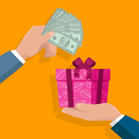 holiday gifts: Buying gifts vector in flat design. Surprise in colored box with ribbon. Hands with packed present and dollar bills. For shopping, holiday sales, discounts concepts, event management companies Illustration