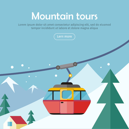 ropeway: Mountain tours conceptual web banner. Funicular railway, cable railway car on winter landscape background. Ski lift, trolley car, transportation tourism, travel cabin, winter vacation, ropeway. Vector Illustration