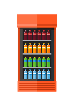 icebox: Orange showcase refrigerator for cooling drinks in bottles. Different colored bottles in orange drinks fridge. Fridge dispenser cooling machine. Isolated object in flat design on white background.