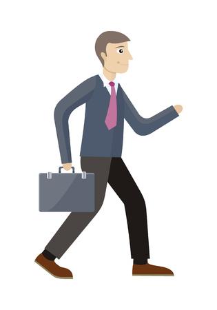 pensamiento estrategico: aislado gerente de gestión estratégica. Trabajador con la maleta en el estilo plano. La planificación estratégica, el marketing, el pensamiento, la visión, la estrategia empresarial, marketing y planificación, finanzas. ilustración vectorial