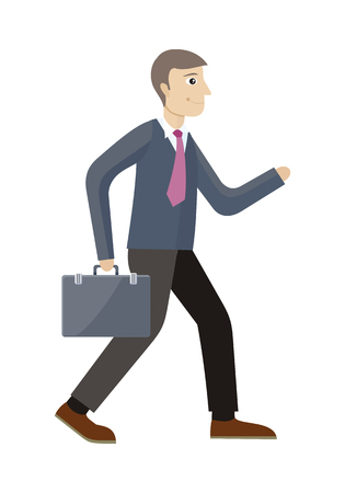 Strategic management manager isolated. Worker with suitcase in flat style. Strategic planning, marketing, thinking, vision, business strategy, marketing and planning, finance. Vector illustration