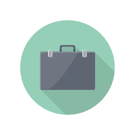 application button: Briefcase vector icon in flat style. Business accessory, career concept. Illustration for application button pictograms, infogpaphics elements, logo, web page design. Isolated on white background