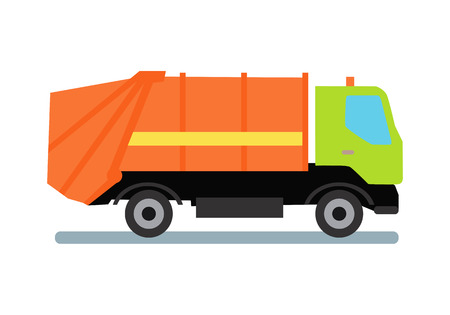 intake: Orange garbage truck transportation. Tipper with green cabin and orange vehicle. Recycle truck icon. Truck for assembling and transportation garbage. Vector illustration in flat style design.
