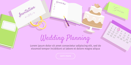 Wedding planning web banner. Preparation for the wedding day. Getting ready to the marriage ceremony. Planning everything ahead. Choosing the date, place, decoration, restaurant menu. Vector Illustration
