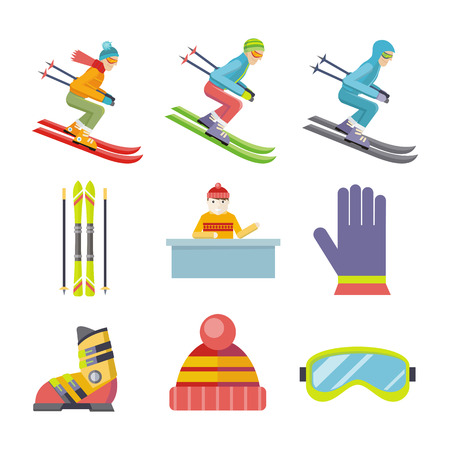 mountainside: Set of winter sport vector icons. Flat design. Man on ski sliding, ski, hat, goggles, gloves, boots, reception. Cold season entertainments and sport. For app buttons, infogpaphics, logo web design Illustration