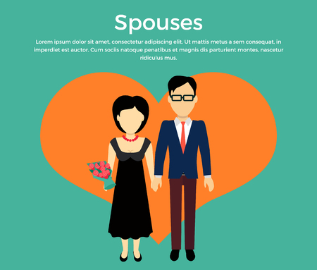 spouses: Spouses concept vector. Flat design. Male and female without faces in formal wear holding hands on background of big heart silhouette. Illustration for engagement, marriage, anniversary invocations.